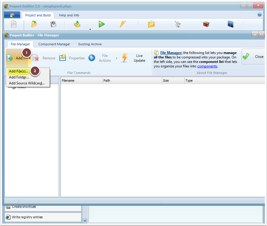 Choose Add and how you want to add files. Drag and drop from Windows Explorer is also possible