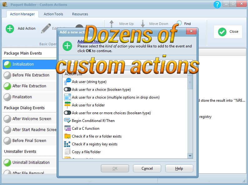 Custom actions for installers